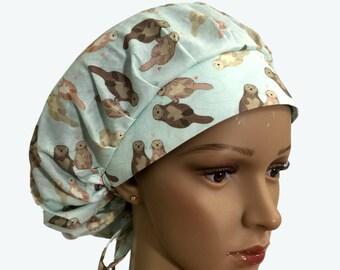 Bouffant Scrub Hat with ties- Otters Holding Hand Swimming Bouffant scrub hat-Ponytail Scrub hat - Custom Scrub Hat - Personalized Scrub hat