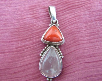 Coral and Rose Quartz Pendant - Sterling Silver - 925 -
