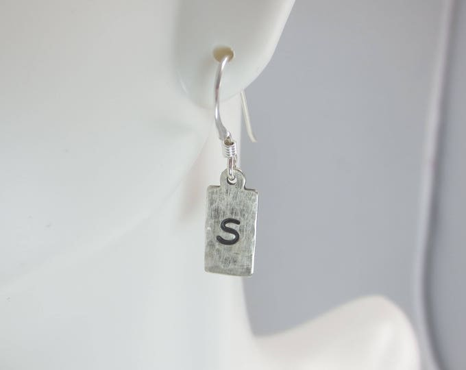 Rectangle Initial Earrings