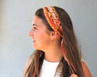 Fabric Headband, Orange Headband, Wide Headband, Hippie Headband, Boho Headband Boho Hair Accessories, Hair Scarf, Head Wrap Scarf, Headwrap