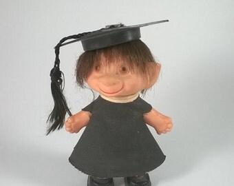 Vintage Grad Troll Doll - 1960s Troll - Graduation Cap and Gown
