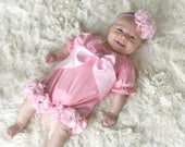 Pink Baby Girl Romper Set Infant One Piece  with Large Satin Bow and matching headband