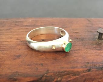 Emerald Stackable Ring Sterling Silver and 14K Gold Bezel Set Emerald SZ 7.5 Stacking Ring Vintage