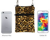 iPhone 8 Shoulder Bag, Mini Travel Purse, Phone Sling Purse, Leopard Print Samsung S8 bag, Small Crossbody Travel Bag - cheetah