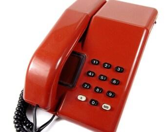 Viscount Vintage 1980s Push Button BT Retro Telephone in Dark Red