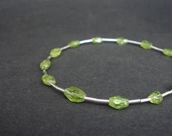 Natural Gemstone Peridot Faceted Oval Bracelet, 925 Sterling Silver Bracelet, Faceted Peridot Bracelet, August Birthstone