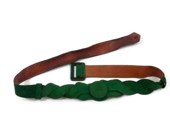 Green Suede Leather Belt 1920s Vintage Designer Clothing Art Deco Fashion Accessories