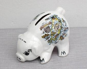 Large White Isle of Man Souvenir Ceramic Cute Pig Piggy Money Bank Figurine