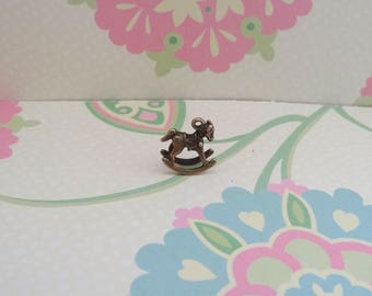 10 pcs - 3D Bronze Rocking Horse Charm