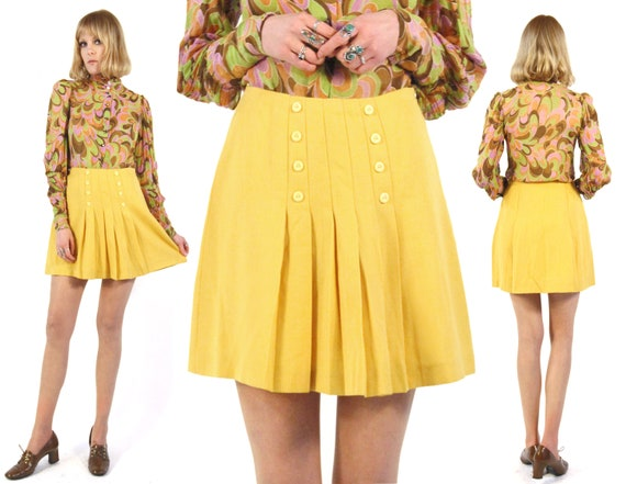 Vtg 60s Yellow Pleated Mini Skirt M
