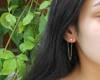 Set of two connected earrings, 2-piercings, 14k gold filled, cz cubic zirconia stud, ball-post stud, double combo, two connecting earrings
