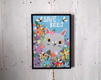 Save The Bees Print - Cat and Flowers - Bees - British Bees - I like Cats - Cat Print - A4 Print - Flowers - Flower Print - Cat Illustration