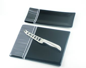 Foodie Gift Ideas, Cheeseboard Set, Serving Platter with Matching Cracker Tray, Stainless Steel Cheese Knife, Black and White, Fused Glass