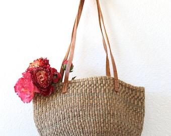 70s sisal tote   vintage sisal bag   woven sisal market bag