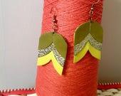 Tulip Earrings / Flower Earrings / Scandi Jewelry / Leather Earrings / Lime Green Earrings / 3rd Anniversary Gift / Gift for her / Recycled