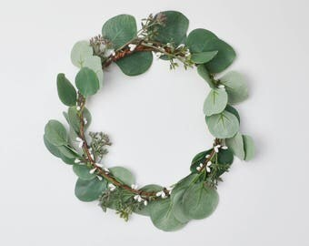 Flower Crown, Green Flower Crown, Greenery, Eucalyptus Crown, Silver Dollar Eucalyptus, Wedding Crown, Boho Flower Crown, Boho Wedding