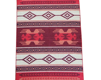 Reversible Kilim Rug - Small Turkish Kilim Rug or Mat in Red, Orange and Maroon - 127cm x 77cm