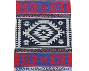 Small Kilim Rug - New Reversible Small Turkish Kilim Rug or Mat in Red, Blue and Cream - 96cm x 60cm