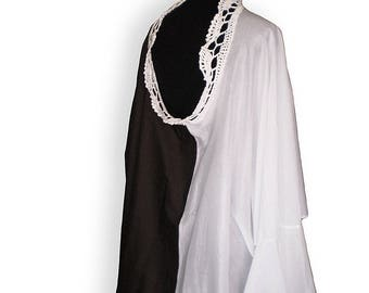 Chocolate brown and white 100% pure cotton tunic/blouse, oversized and loose  with hand crocheted collar