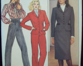 Evan-Picone Jacket, Skirt, Pants 1980s Butterick Pattern 4527 Size 10 Bust 32.5""