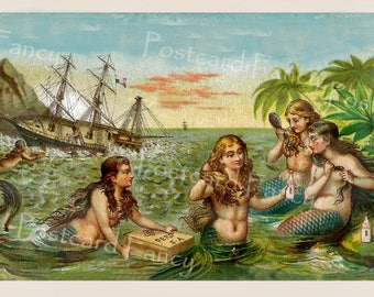 Magical MERMAIDS, Instant Digital Download, Vintage Victorian Trade Card, Printable Image, By the Sea