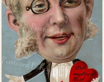 ODD , Big Face on Man with a Monocle Eye Glass, Holding Valentine Heart, Instant DIGITAL Download, Printable LOVE