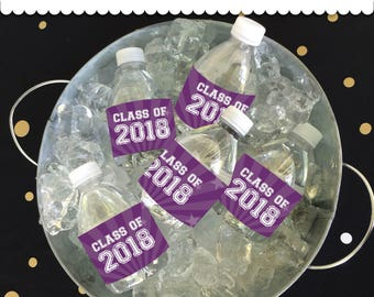 Graduation Bottle Wrappers Purple and White Instant Download printable PDF