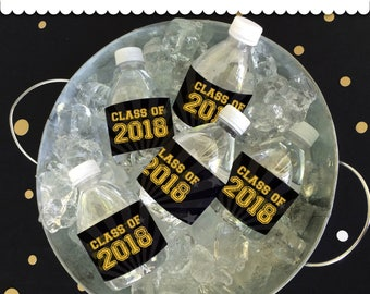 Graduation Bottle Wrappers GOLD / BLACK Instant Download printable PDF