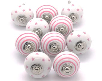 PKS19 - Set of 10 Pink Stars and Stripes Ceramic Porcelain China Cupboard Door Knobs