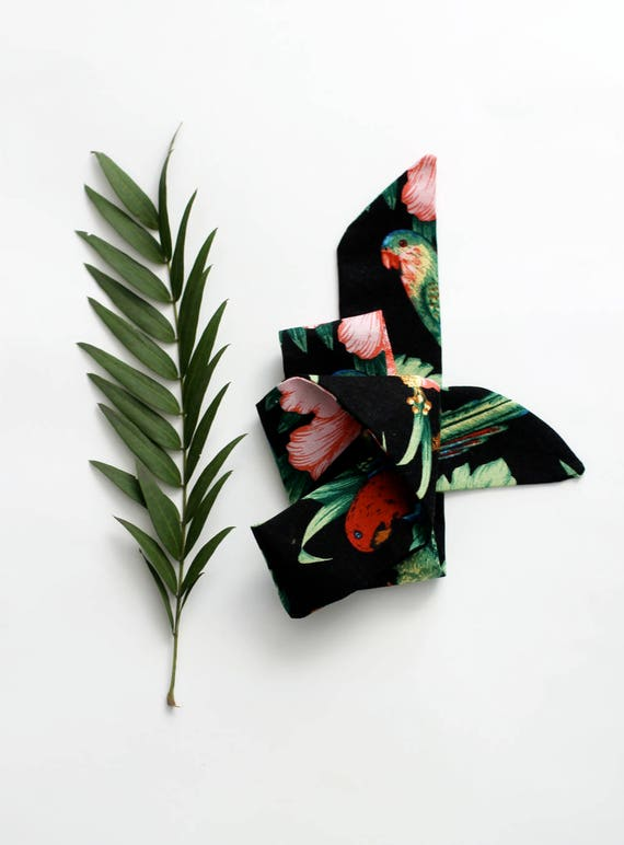 Black tropical necktie, neckerchief, choker, head band, baby head wrap