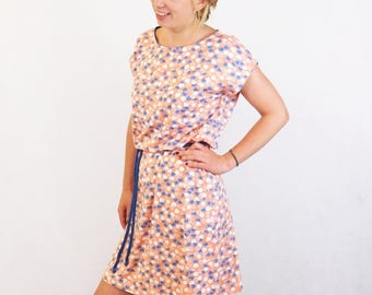Flower Mini Dress, Beach Tunic, Tunic Dress, Beach Dress, Coral Dress, Tangerine Tunic Dress, Peach Flower Dress, Apricot Summer Dress