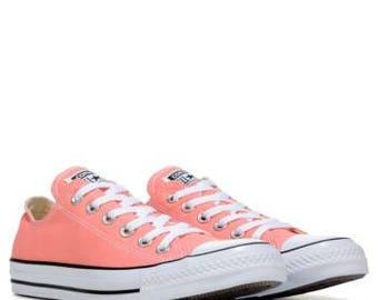 Custom Converse Low Top Peach Sun Blush Rose Apricot Melon w/ Swarovski Crystal Bling Wedding Chuck Taylor All Star Bridal Sneaker Shoe