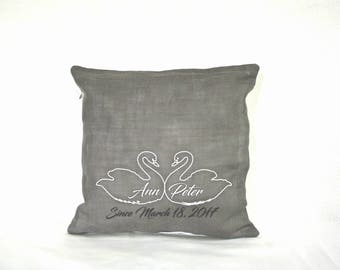 Linen Pillow Cover / Personalized Pillow cover / Monogrammed Pillow / Pillow Cover / Wedding Gift / Embroidered Pillow Cover / Gift