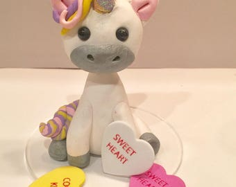 polymer clay baby unicorn. Bithday party,cake topper,children's party,squirrels, woodland animals