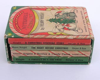 Christmas Nutshell Library by Hilary Knight . 1960s miniature children's book set