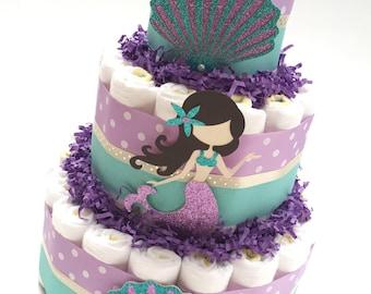 mermaid diaper cake aqua and purple diaper mermaid diaper cake under the sea diaper
