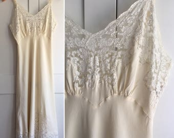 1940s Ecru and White Silk and Lace Fischer Slip Nightgown, Adjustable Straps with Lace Trim and Center Slit, White Lace Trim and Ivory Silk