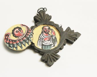 Hand Carved Ethiopian Wood Cross Pendant, Hand painted African Christian Pendant (AL256)