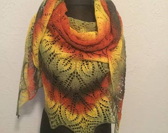 Hand knitted large shawl