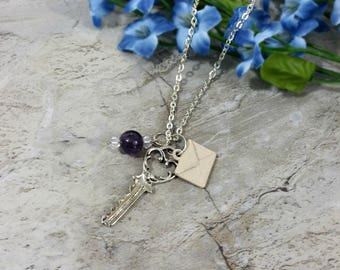 Key Charm Necklace, Charm Necklace, Envelope Charm, Travel Necklace, Silver Necklace, Key to Your Travels Necklace, Friendship, Gift