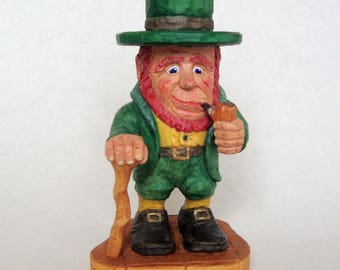 Leprechaun, Woodcarving, Irish Character of Folklore, Original St Patrick's day woodcarving, Collectable Wood Carving Gift
