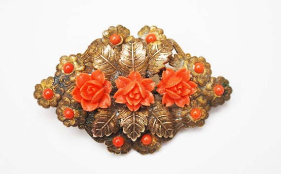 Coral celluloid flower Brooch - Golden Brass - leaf - Art Nouveau Pin