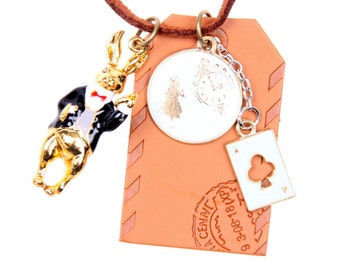Necklace Golden rabbit and clock leather