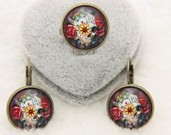 SET earrings and ring Flower skull