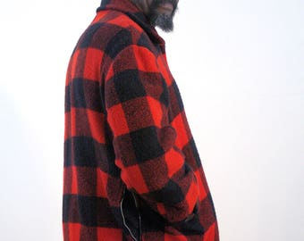 50s Buffalo Plaid Hunting Coat L, Quilted Red Plaid Coat, Heavy Duty Plaid Wool Coat, Quilted Hunting Coat, Red Wool Hunting Jacket, Large