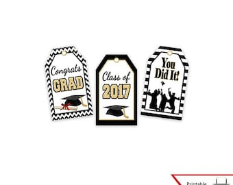 Printable Graduation Gift Tags, Class of 2017, High School & College, Party Favor, Wish Tree, Decoration, Instant Download, Graduate Parties