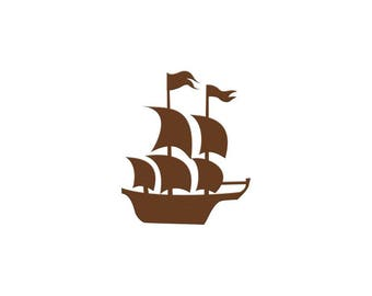 Mayflower Ship Die Cuts, Paper Pirate Ship Cut Outs, Thanksgiving Decorations, Place Cards, Scrapbook, Pirate Party Favor, Craft Projects