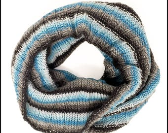 Hand-Knit Lakeside Striped Cowl