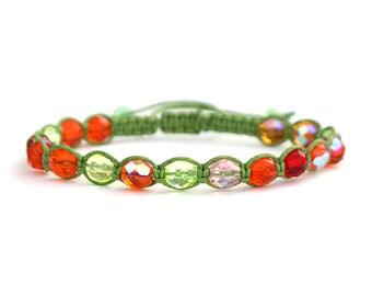 Christmas Citrus Spice Czech Crystal Shamballa Bracelet a Handmade Unisex Bracelet for Men and Women