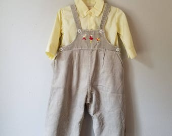 Vintage Gray Corduroy Overalls with Appliqued Birds and ABC over yellow shirt - Size 12 Months- Gently Worn- Thanksgiving Outfit
